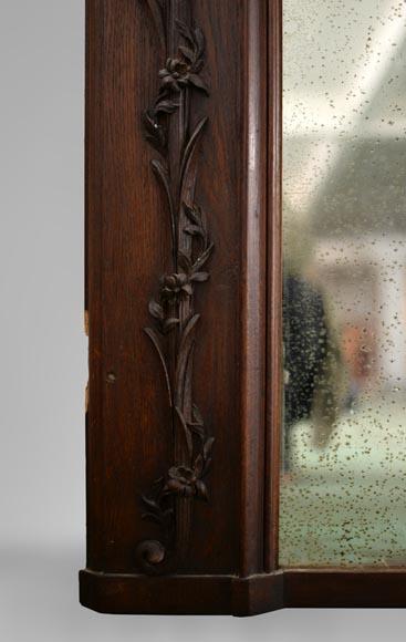 Antique Carved Oak Overmantel Pierglass With War Trophies