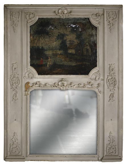 Antique Regence style overmantel mirror with a painting representing a gallant scene-0