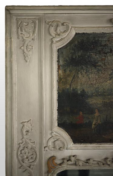 Antique Regence style overmantel mirror with a painting representing a gallant scene-2