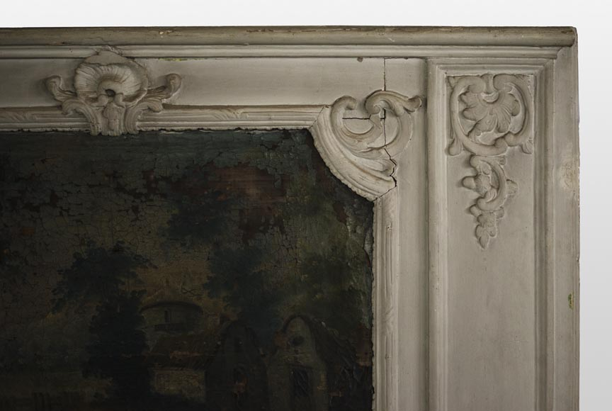 Antique Regence style overmantel mirror with a painting representing a gallant scene-4
