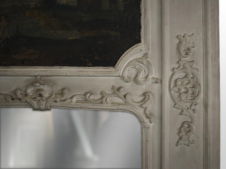 Antique Regence style overmantel mirror with a painting representing a gallant scene-5