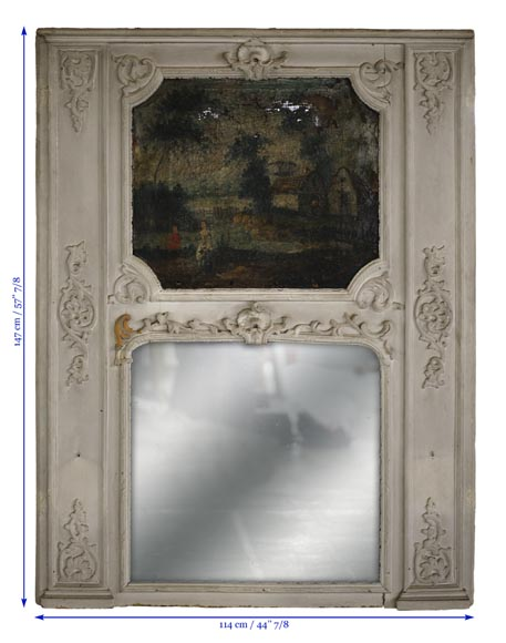 Antique Regence style overmantel mirror with a painting representing a gallant scene-7