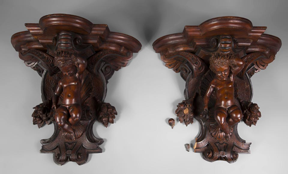 Pair of applied consoles in carved walnut with putti decor, Napoleon 3 period-0