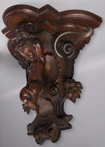 Pair of applied consoles in carved walnut with putti decor, Napoleon 3 period-6