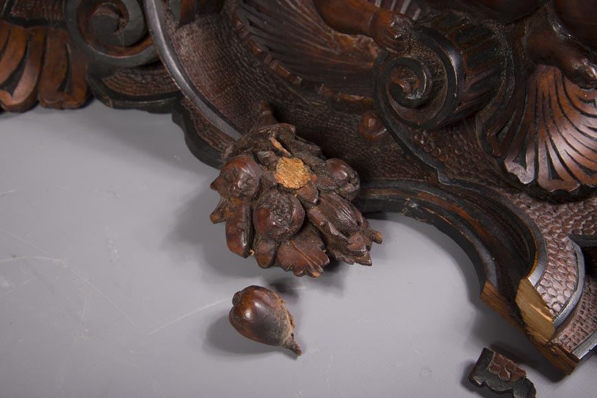 Pair of applied consoles in carved walnut with putti decor, Napoleon 3 period-8