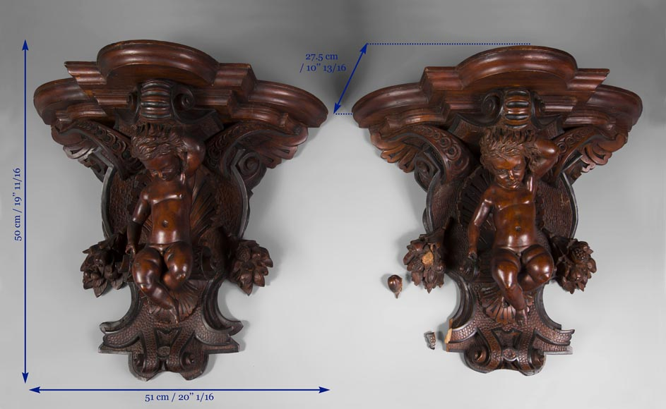 Pair of applied consoles in carved walnut with putti decor, Napoleon 3 period-10
