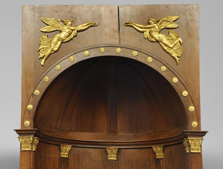 Pair of walnut and gilt stucco alcoves, Louis-Philippe style, with Allegory of Renown-1