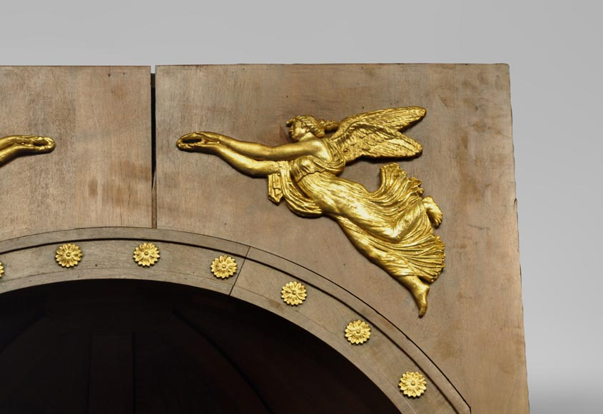 Pair of walnut and gilt stucco alcoves, Louis-Philippe style, with Allegory of Renown-2