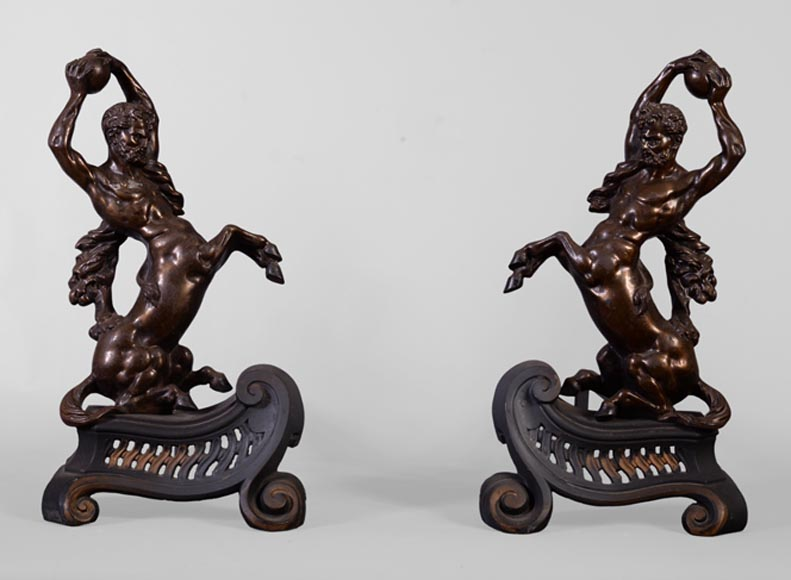 Antique pair of andirons in brown patina bronze with centaurs-0