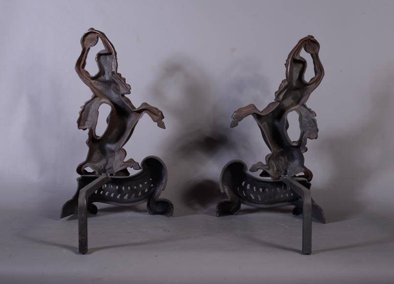 Antique pair of andirons in brown patina bronze with centaurs-7