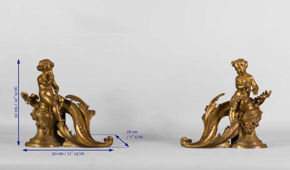Pair of Louis XV style andirons in gilded bronze decorated with children in vineyards-7