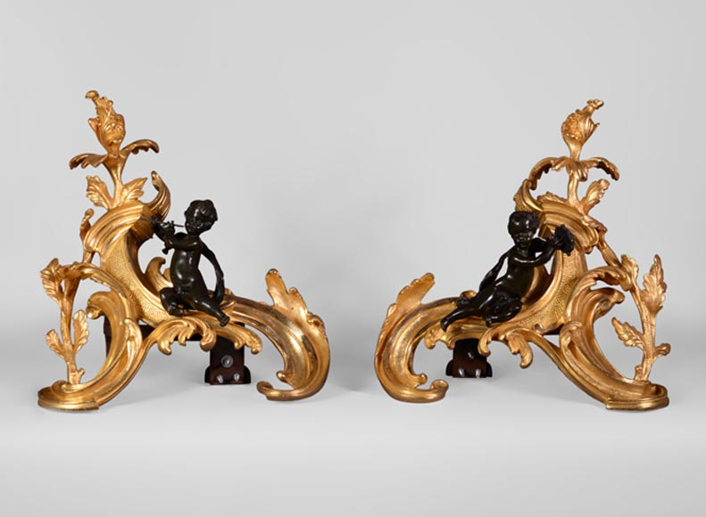 Antique pair of Louis XV style andirons in bronze with two patinas with putti playing music-0