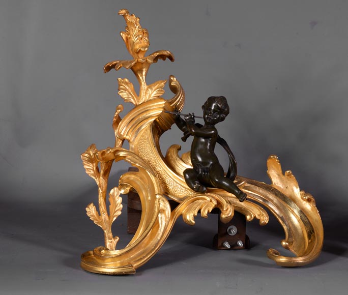 Antique pair of Louis XV style andirons in bronze with two patinas with putti playing music-1