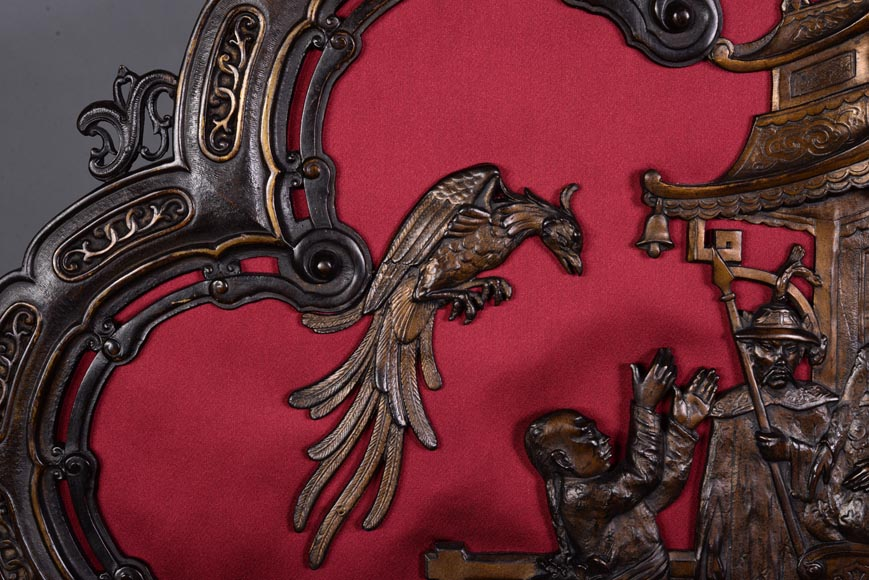 Maison MARNYHAC (att. to) - Antique Chinese style firescreen in brown patina bronze, second half of the 19th century-4