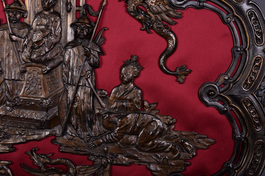 Maison MARNYHAC (att. to) - Antique Chinese style firescreen in brown patina bronze, second half of the 19th century-5