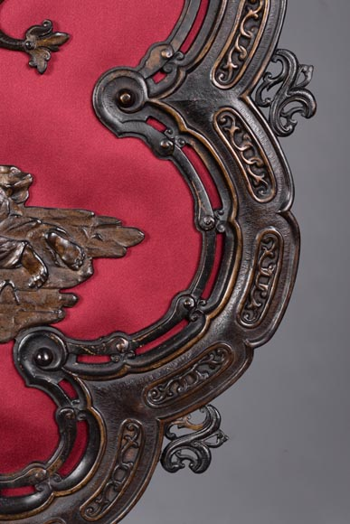 Maison MARNYHAC (att. to) - Antique Chinese style firescreen in brown patina bronze, second half of the 19th century-8