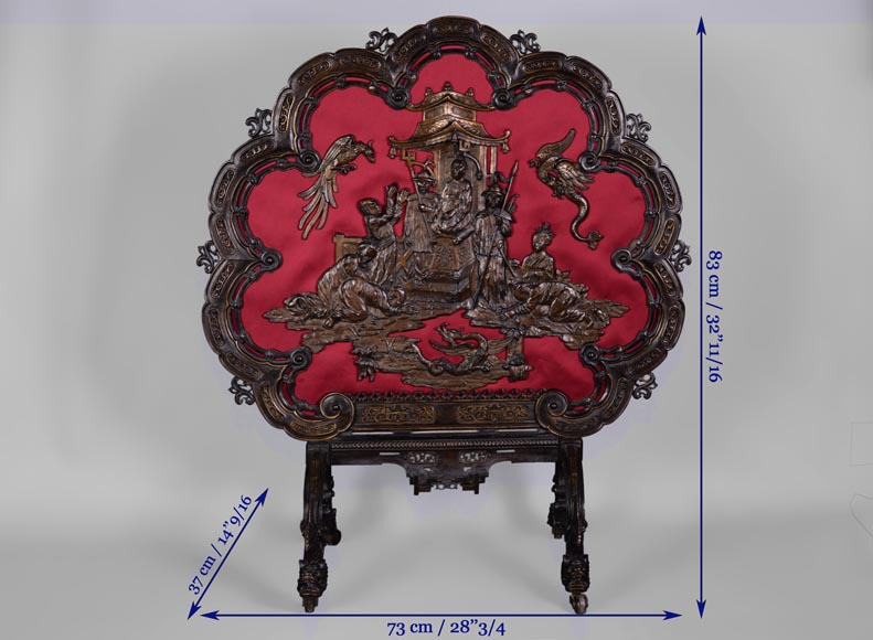 Maison MARNYHAC (att. to) - Antique Chinese style firescreen in brown patina bronze, second half of the 19th century-11
