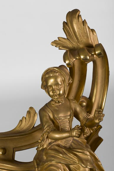 Pair of Louis XV style gilt bronze andirons, children in peasant costume and drum player-4