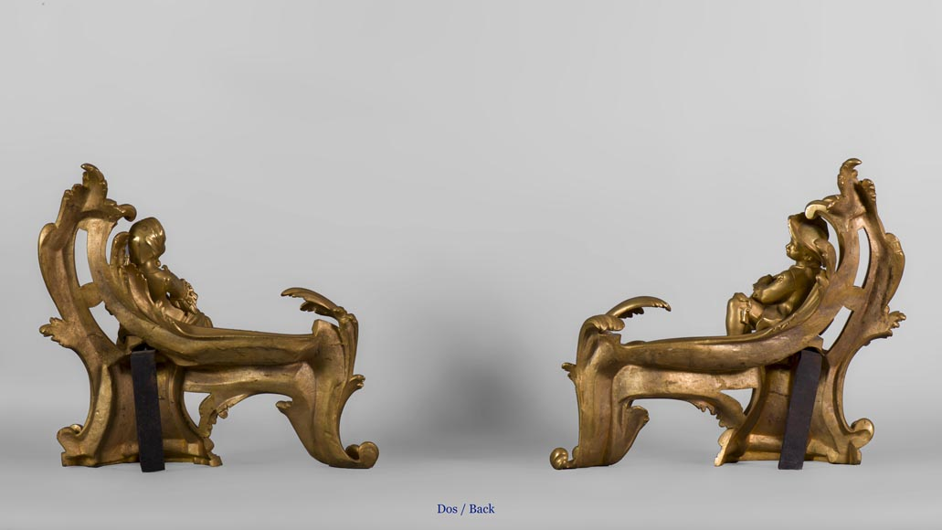 Pair of Louis XV style gilt bronze andirons, children in peasant costume and drum player-6