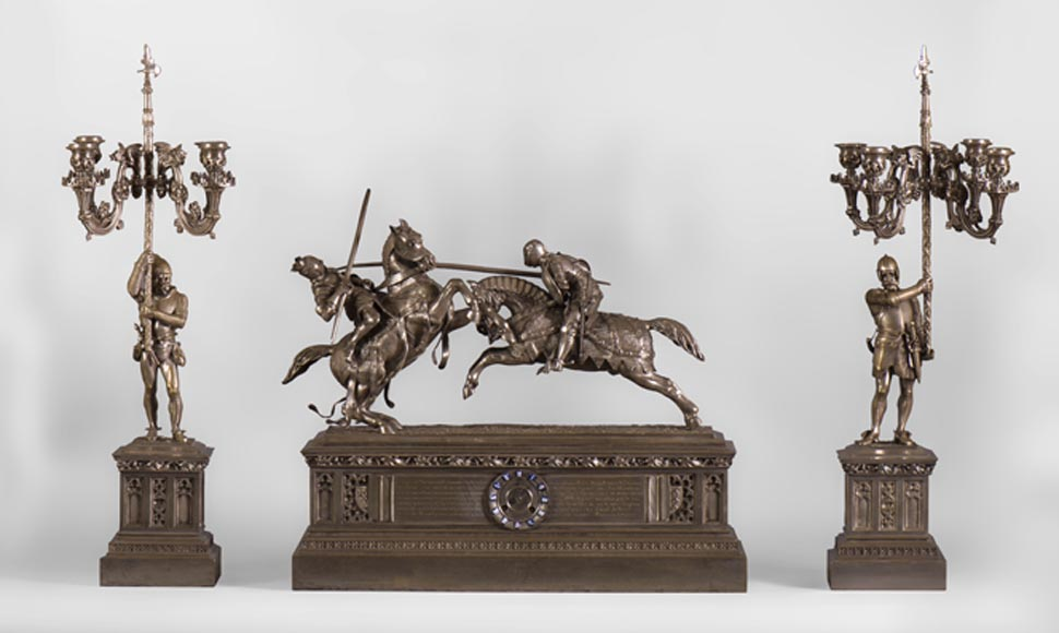 Alfred de NIEUWERKERKE (1811-1892) - Death of His Lordship the Duke of Clarence, Design of 1838, Mantel clock and pair of candelabras in silvered bronze - Reference 10510