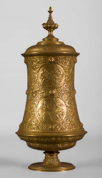 "Ferdinand LEVILLAIN (1837-1905) - Rare ""Diogenes Vase"" in brass, gilt bronze and galvanoplasty, design of 1891 - Reference 10511"