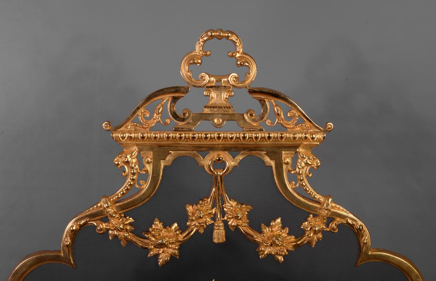 Antique Napoleon III firescreen in gilt bronze with the Salamander of King Francis Ist-2