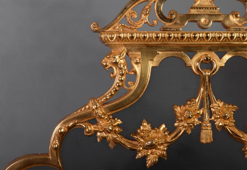 Antique Napoleon III firescreen in gilt bronze with the Salamander of King Francis Ist-3