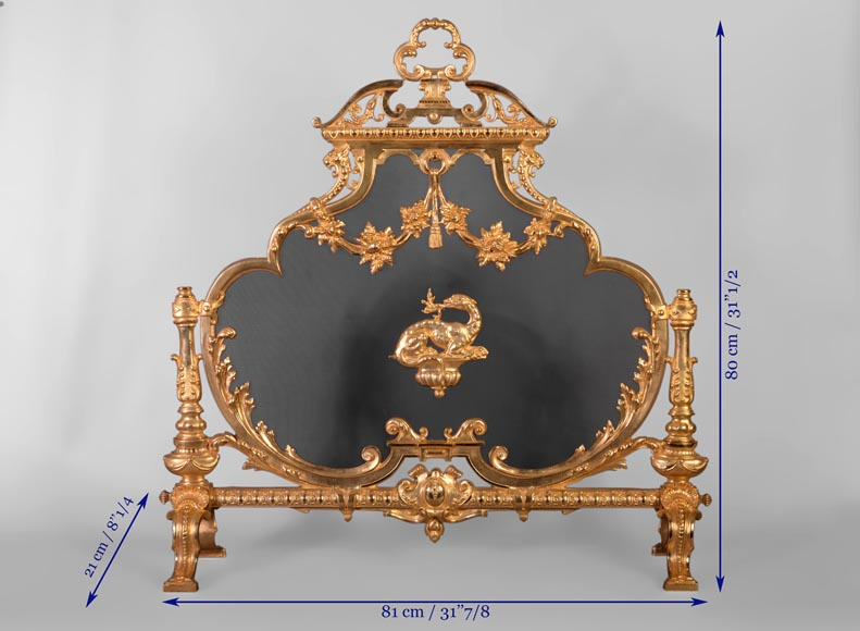 Antique Napoleon III firescreen in gilt bronze with the Salamander of King Francis Ist-9