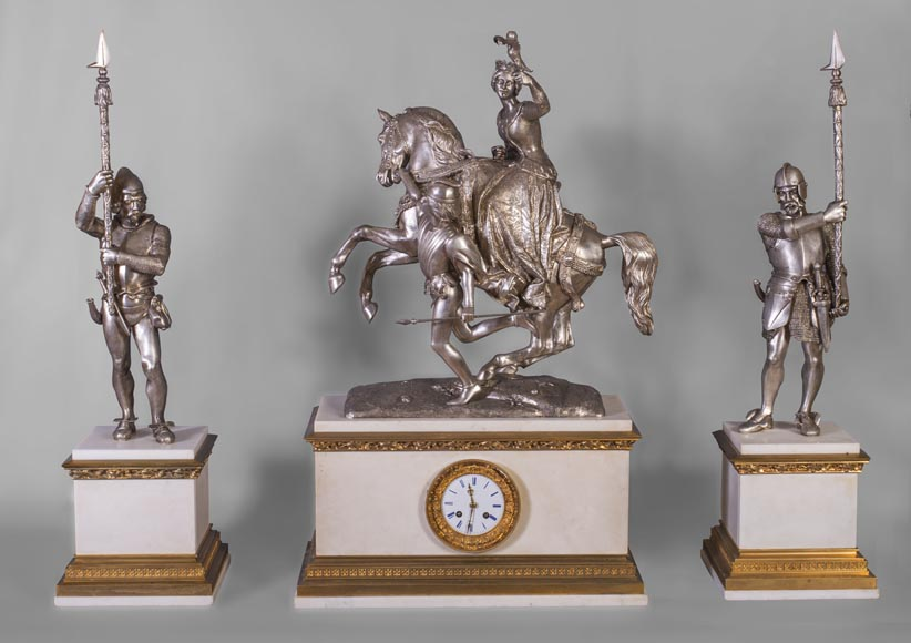After Jean-Auguste BARRE (1811-1896) - Set clock with Marie de Bourgogne going falcon hunting-0