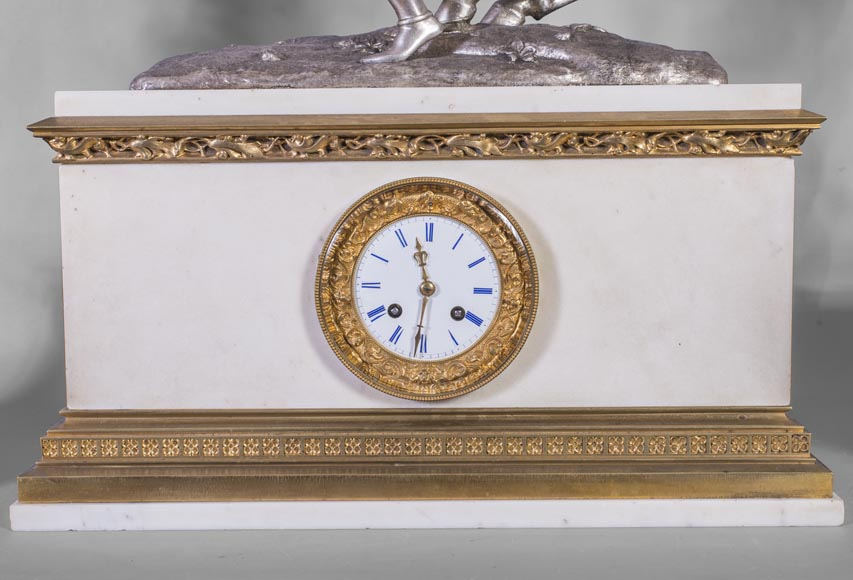 After Jean-Auguste BARRE (1811-1896) - Set clock with Marie de Bourgogne going falcon hunting-6