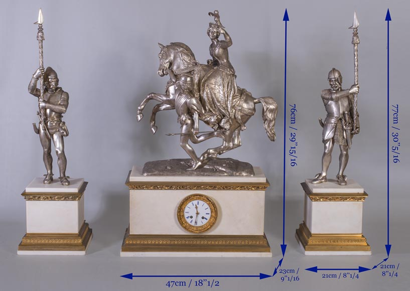 After Jean-Auguste BARRE (1811-1896) - Set clock with Marie de Bourgogne going falcon hunting-11