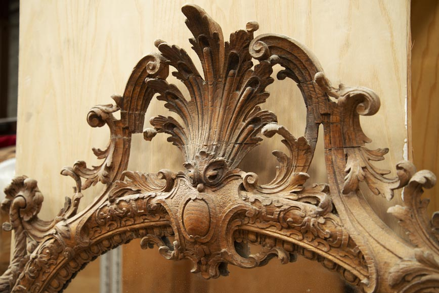 Regence style oak trumeau with a pediment decorated with horns of plenty-2
