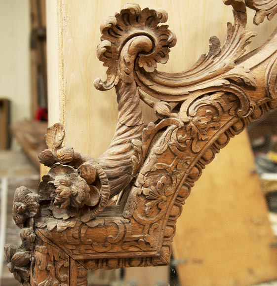 Regence style oak trumeau with a pediment decorated with horns of plenty-3