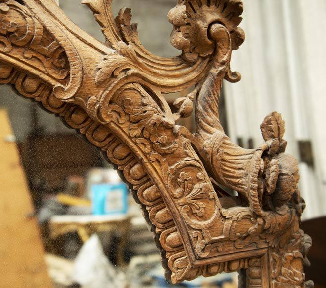 Regence style oak trumeau with a pediment decorated with horns of plenty-4