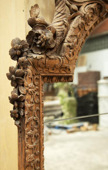 Regence style oak trumeau with a pediment decorated with horns of plenty-5