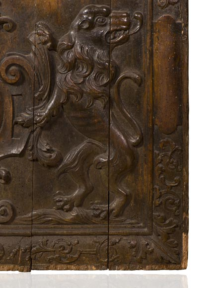 Rare antique fireback carved wooden model, with wedding coat of arms of Nicolas de Massenbach and Françoise d'Helmstadt, dated 1710-4