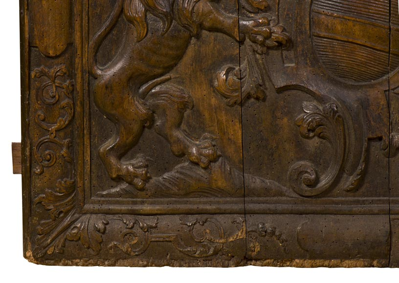 Rare antique fireback carved wooden model, with wedding coat of arms of Nicolas de Massenbach and Françoise d'Helmstadt, dated 1710-6