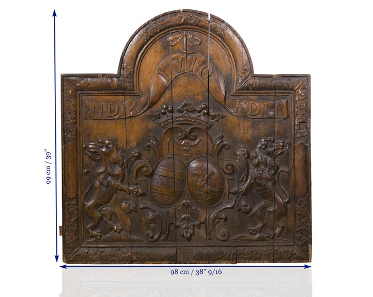 Rare antique fireback carved wooden model, with wedding coat of arms of Nicolas de Massenbach and Françoise d'Helmstadt, dated 1710-10