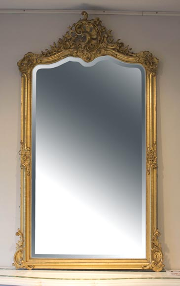 Small antique Louis XV style overmantel mirror in wood and gilt stucco - Reference 10522