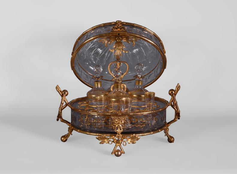 Cristallerie BACCARAT - Crystal and gilt bronze liquor cellar with bamboo, 19th century-2