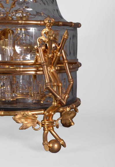 Cristallerie BACCARAT - Crystal and gilt bronze liquor cellar with bamboo, 19th century-4