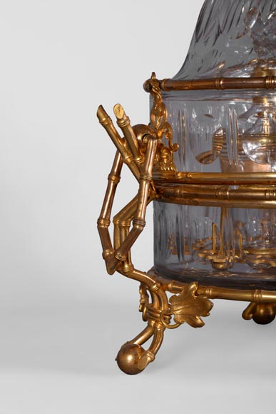 Cristallerie BACCARAT - Crystal and gilt bronze liquor cellar with bamboo, 19th century-5