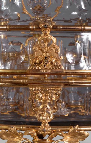 Cristallerie BACCARAT - Crystal and gilt bronze liquor cellar with bamboo, 19th century-6