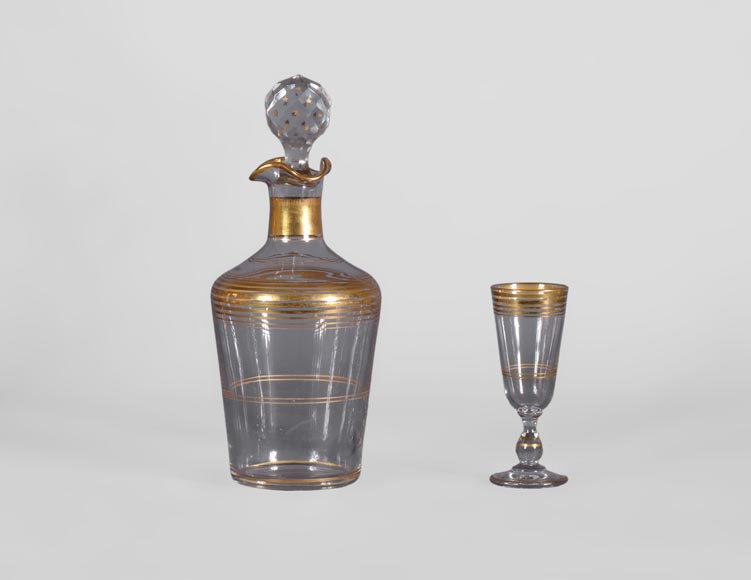 Cristallerie BACCARAT - Crystal and gilt bronze liquor cellar with bamboo, 19th century-8