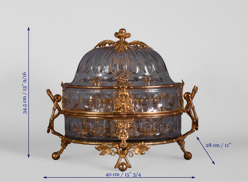 Cristallerie BACCARAT - Crystal and gilt bronze liquor cellar with bamboo, 19th century-9