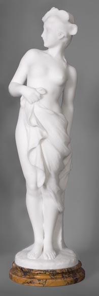Edouard FORTINY (actif 1870-1920) - Subject made out of statuary marble representing a bather.-0