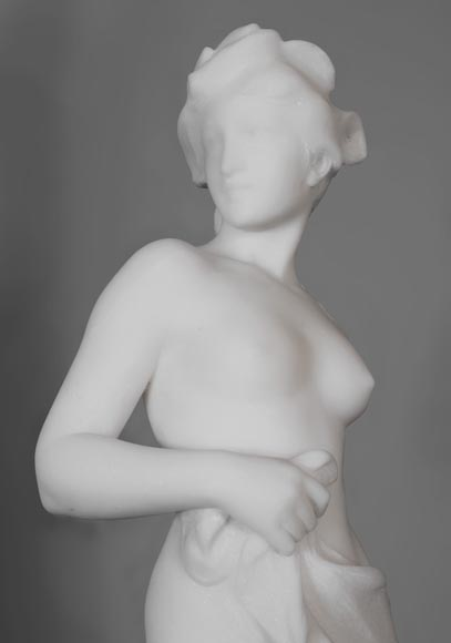 Edouard FORTINY (actif 1870-1920) - Subject made out of statuary marble representing a bather.-1
