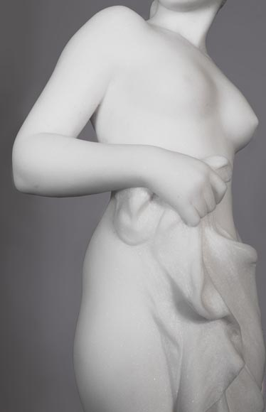 Edouard FORTINY (actif 1870-1920) - Subject made out of statuary marble representing a bather.-2