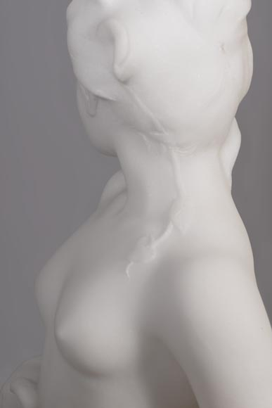 Edouard FORTINY (actif 1870-1920) - Subject made out of statuary marble representing a bather.-6