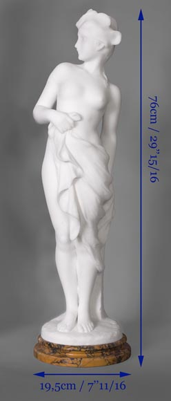 Edouard FORTINY (actif 1870-1920) - Subject made out of statuary marble representing a bather.-10